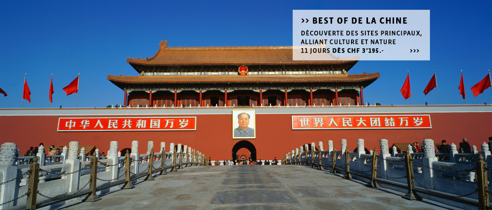 Destinations Chine - Découvrez la Chine à la carte, les circuits ou séjours individuels du spécialiste Suisse.